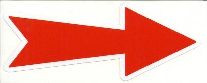 Samolepka šipka k označení tažného oka červená