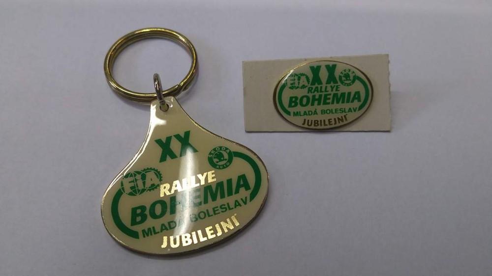 Rally Bohemia XX. jubilejní odznak + klíčenka