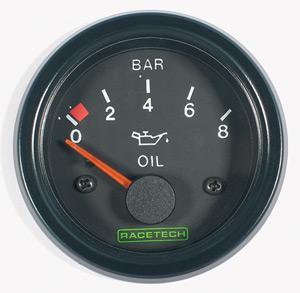 RACETECH elektrický ukazatel tlaku oleje (0-8 bar)
