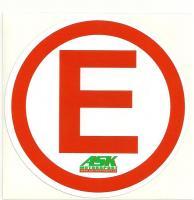 Samolepka (E) označení hasicího přístroje a systému