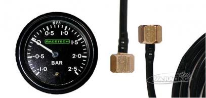 RACETECH mechanický ukazatel tlaku - turbo (-1,0 - +2,5) + snímací hadička 1/8 BSP