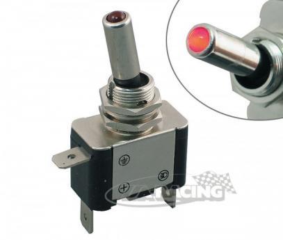 Ocelový páčkový vypínač ON-OFF (25 A/12 V) s diodou